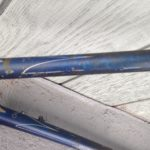 This is the condition of the 1950's Bertin when it came to us. Top Tube, with Intricate Box Stripes.